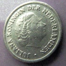 10 Центов, 1950 года, Нидерланды, Монета, Монеты, 10 Сents1950, NEDERLAND, Crown, Корона на монете, Королева Юлиана на монете.
