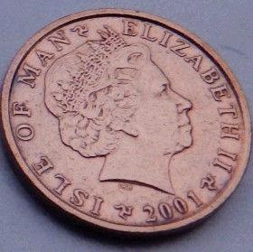 1 Пенни, 2001 года, Остров Мэн, Монета, Монеты, 1 OnePenny 2001, Isle of Man, Руїни стародавнього замку,Ruins of an ancient castle,Руины древнего замкана монете,Королева Elizabeth II, Елизавета IIна монете, Четвертыйпортрет королевы.