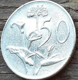 50 Центов, 1966 года, ЮАР,Монета, Монеты, 50 Cents1966,South Africa,Suid-Afrika, Flora, Flower, Zantedeschia, Agapanthus, Strelitzia, Флора, Цветок, Зантедеския, Агапантус, Стрелитция на монете, Jan van Riebeeck,Ян ван Рибекна монете.