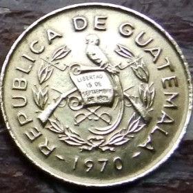 1 Сентаво, 1970 года,Гватемала, Монета, Монеты, 1 Un Centavo 1970,Republica de Guatemala, Bartolome de las Casas, Бартоломе де лас Касасна монете, Coat of arms ofGuatemala, Эмблема Гватемалына монете.