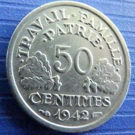 50 Сантимов, 1942 года, Франция,Монета, Монеты, 50Centimes 1942,Etat Francais, France,Oak leaves,Дубовые листья на монете,Spikelets, Колоски,Сокира,Ax, Топорна монете.