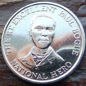 10 Центов, 1993 года, Ямайка, Монета, Монеты, 10 Ten Cents 1993, Jamaica,Coat of arms ofJamaica, Герб Ямайкина монете, Paul Bogle,Поль Боглена монете.