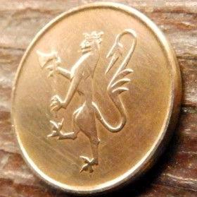 5 Эре, 1974 года, Норвегия, Монета, Монеты, 5 Ore 1974, Norge,Fauna, Фауна, Лев, Lion на монете.