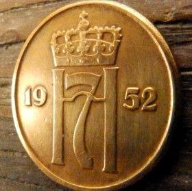 5 Эре, 1952 года, Норвегия, Монета, Монеты, 5 Ore 1952, Norge,Crown,Корона,Monogram, ВензельКороляГокона VII на монете.