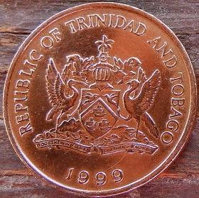 5 Центов, 1999 года, Тринидад и Тобаго, Монета, Монеты, 5 Cents 1999, Republic of Trinidad and Tobago,Fauna, Bird of Paradise,Фауна, Райская Птицана монете,Coat of arms ofTrinidad and Tobago, Герб Тринидада и Тобагона монете.