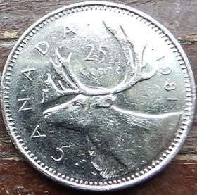 25 Центов, 1981 года,Канада, Монета, Монеты, 25 Cents 1981, Canada,Fauna, Deer, Фауна, Оленьна монете, Королева Elizabeth II, Елизавета IIна монете, Второй портрет королевы.