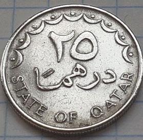 25 Дирхамов, 1973 года, Катар, Монета, Монеты, 25 Dirhams 1973, State of Qatar,Coat of arms of Qatar,Герб Катара,Корабель, Вітрильник, Ship, Sailboat,Корабль, Парусник,Palm,Пальмана монете.