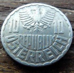 10 Грошей,1955 года,Австрия,Монета, Монети,Osterreich, 10 groschen1955, Austria,Австрія, Герб, Орел.