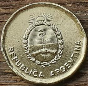10 Сентаво, 1988 года, Аргентина, Монета, Монеты, 10 Centavos 1988, Republica Argentina,Coat of arms of Republica Argentina, ГербАргентины на монете.