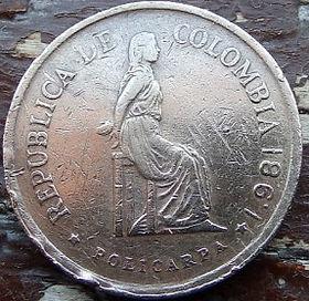 5 Песо,1981 года, Колумбия, Монета, Монеты, 5 Pesos 1981, Republica de Colombia, Індустріальний пейзаж,Industrial landscape,Индустриальный пейзаж на монете,Policarpa Salavarrieta,Поликарпа Салаварріета на монете.