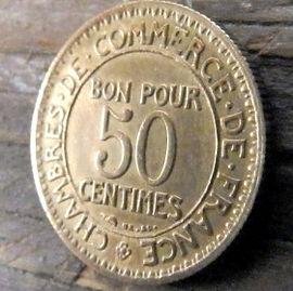50 Сантимов, 1927 года, Франция,Монета, Монеты, 50Centimes 1927,RepubliqueFrancaise, France,BON POUR, Commerce Industrie,Торговая индустрия,Human's figure,Фигура человекана монете.