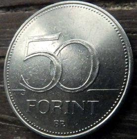 50 Форинтов, 2003 года,Венгрия, Монета, Монеты,50 Forint 2003,Hungary, Угорщина, Magyar, Fauna, Фауна, Пташка, Bird,Птица,Falcon,Сокол на монете.