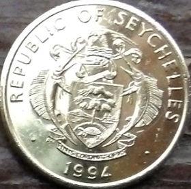 10 Центов, 1994 года, Сейшельские Острова, Монета, Монеты, 10 Ten Cents 1994, Republic of Seychelles,Fauna, Fish, Фауна, Рыба на монете,Coat of arms of Republic of Seychelles,Герб Республики Сейшельские Острована монете.
