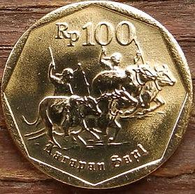 100 Рупий, 1994 года, Индонезия, Монета, Монеты, 100 Rupiah 1994, Republik Indonesia, Bull racing,Гонки на быках на монете, National emblem of Indonesia, Герб Индонезии на монете.