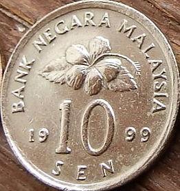 10 Сенов, 1999 года, Малайзия, Монета, Монеты, 10 Sen 1999, Malaysia, Квітка Гібіск, Flower Hibiscus, Цветок Гибискус на монете, Ceremonial table, Церемониальный стол на монете.