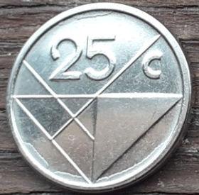 25 Центов, 2014 года, Аруба, Монета, Монеты, 25 Сents2014, Aruba,Coat of arms of Aruba,Герб Арубына монете.