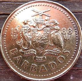 5 Центов, 1988 года, Барбадос, Монета, Монеты, 5 Five Cents 1988, Barbados,Lighthouse, Маяк на монете, Coat of arms ofBarbados, Герб Барбадосуна монете.