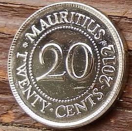 20 Центов, 2012года, Маврикий,Монета, Монеты, 20 Twenty Cents2012, Mauritius,Seewoosagur Ramgoolam,Сивусагур Рамгуламна монете.