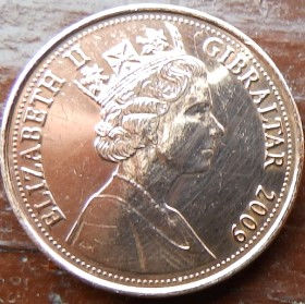 1 Пенни, 2009 года, Гибралтар, Монета, Монеты, 1 One Penny 2009, Gibraltar,Constitutionorder 1969 на монете,Королева Elizabeth II, Елизавета IIна монете, Пятый портрет королевы.