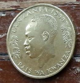 20 Сенти, 1966 года, Танзания,Монета, Монеты, 20 Senti1966, Tanzania,Fauna, Ostrich,Фауна, Страус на монете, Julius Nyerere,Джулиус Ньерере на монете.