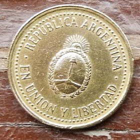 10 Сентаво, 1992 года, Аргентина, Монета, Монеты, 10 Centavos 1992, Republica Argentina,Coat of arms of Republica Argentina, ГербАргентины на монете.