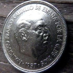 5Песет, 1957 года, Испания, Монета, Монеты, 5 Pesetas 1957, Espana,Spain,Герб,Фауна, Bird,Птица, Eagle,Орел,Корона, Crown, Lion,Лев на монете,Франсиско Франко на монете.