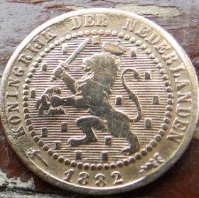 1 Цент, 1882 года, Нидерланды, Монета, Монеты, 1Сent1882, KONINGRIJK DER NEDERLANDEN,Рослинний орнамент,растительный орнамент,floral ornamentна монете,Корона, Crown, Sword,Меч,Фауна, Лев, Lionна монете.