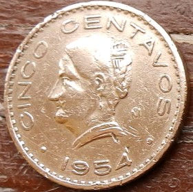 5 Сентаво, 1954 года, Мексика, Монета, Монеты, 5 Cinco Centavos 1954, Estados Unidos Mexicanos, Жінка, Woman, Женщина на монете, Coat of arms of Mexico, Герб Мексики на монете.