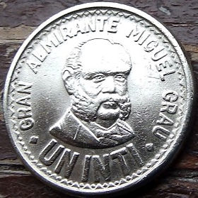 1 Инти,1987 года, Перу, Монета, Монеты, 1 UnInti 1987, Peru,Miguel María Grau Seminario,Мигель Мария ГрауСеминарио на монете,Coat of arms of Peru,Герб Перу на монете.