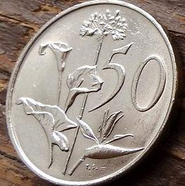 50 Центов, 1988 года, ЮАР,Монета, Монеты, 50 Cents1988,South Africa,Suid-Afrika, Flora, Flower, Zantedeschia, Agapanthus, Strelitzia, Флора, Цветок, Зантедеския, Агапантус, Стрелитция на монете, Coat of arms of South Africa, ГербЮАРна монете.