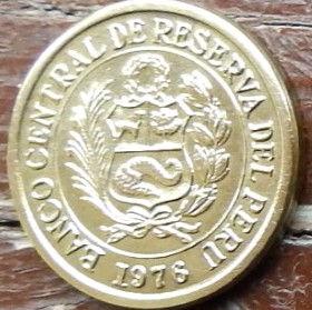 1/2 Соль,1976 года, Перу, Монета, Монеты, 1/2 Sol de Oro 1976, Peru, Coat of arms of Peru,Герб Перу на монете.