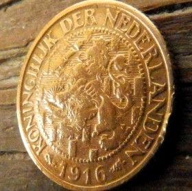1 Цент, 1916 года, Нидерланды, Монета, Монеты, 1Сent1916, KONINGRIJK DER NEDERLANDEN,Рослинний орнамент,растительный орнамент,floral ornamentна монете,Корона, Crown, Sword,Меч,Фауна, Лев, Lionна монете.