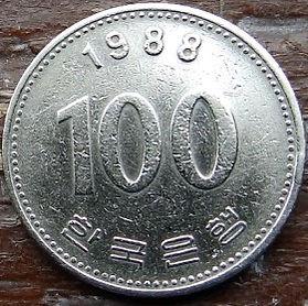 100 Вон, 1988 года, ЮжнаяКорея, Монета, Монеты, 100 Vons1988, South Korea,Yi Sun-sin,Ли Сунсин на монете.