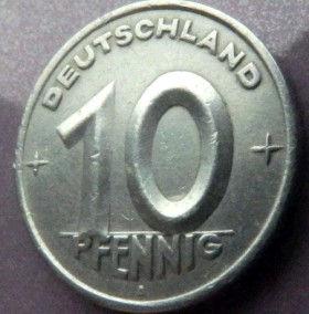 10 Пфеннигов,1949 года, ГДР, Германия, Німеччина,Монета, Монеты, 10 Pfennig 1949,Deutschland,Spikelet, Колосок,Gear, Шестерня на монете.