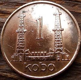 1Кобо, 1973 года, Нигерия,Монета, Монеты, 1 Kobo 1973, Federal Republic ofNigeria, Нафтові вишки, Oil rigs,Нефтяные вышки на монете, Coat of arms of Nigeria,Герб Нигериина монете.