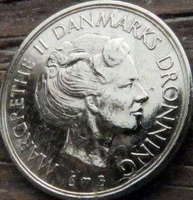 1 Крона, 1975 года, Дания, Монета, Монеты, 1 Krone 1975, Danmark,Crown,Корона, Герб, Lion, Лев на монете,Королева МаргретаII на монете.