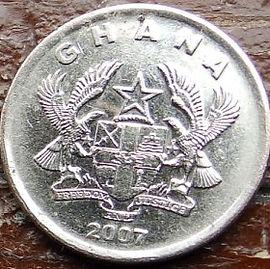 20Песев, 2007 года, Гана,Монета, Монеты, 20 Pesewas 2007, Ghana, Flora, Cocoa,Флора, Какао на монете, Coat of arms of Ghana,Герб Ганы на монете.