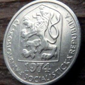 10 Геллеров, 1974 года,Чехословакия,Монета, Монеты,10 Hellers1974, Ceskoslovenska Socialisticka Republika,Star, Звезда на монете,Coat of Arms, Герб,Fauna, Фауна,Lion, Левна монете.