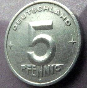 5 Пфеннигов,1948 года, ГДР, Германия, Німеччина,Монета, Монеты, 5 Pfennig 1948,Deutschland,Spikelet, Колосок,Gear, Шестерня на монете.