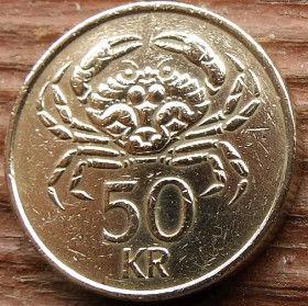 50 Крон, 1987 года, Исландия, Монета, Монеты, 50 Fimmtiu Kronur 1987, Island,Iceland, Fauna,Фауна,Crab, Крабна монете,Bull, Бык,Vulture,Гриф,Dragon, Дракон,Giant, Великан на монете.