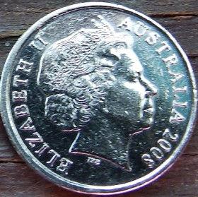 5 Центов, 2008 года,Австралия, Монета, Монеты, 5Cents2008, Australia,Echidna Australian,Австралийская ехидна на монете, Королева Elizabeth II, Елизавета IIна монете, Четвертый портрет королевы.