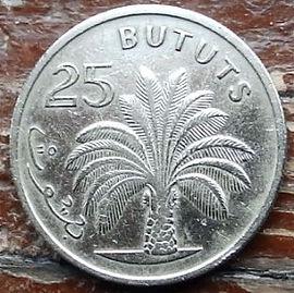 25 Бутутов, 1971 года, Гамбия,Монета, Монеты, 25 Bututs 1971, Republic of the Gambia,Flora, Tree, Palm Tree,Флора, Дерево, Пальма на монете, Первий президентГамбииДауда Кайраба Джавара на монете.