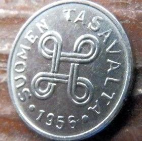 1 Марка, 1956 года, Финляндия, Монета, Монеты, 1 Markka 1956,Suomen Tasavalta, Suomi, Finland,Об'єднані чотири петлі,Объединены четыре петли на монете.