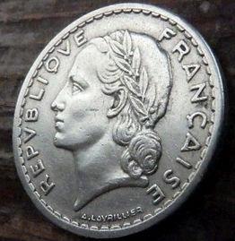 5 Франков, 1947 года, Франция,Монета, Монеты, 5Francs 1947,RepubliqueFrancaise, France,Рослинний орнамент,растительный орнамент,floral ornament на монете,Girl,Девушкана монете.
