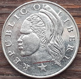 50Центов, 2000 года, Либерия,Монета, Монеты, 50 Cents 2000, Republic of Liberia,Рослинний орнамент,растительный орнамент,floral ornament на монете, Африканський чоловік,African man,Африканский мужчина на монете.