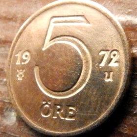 5 Эре, 1972 года, Швеция, Монета, Монеты, 5 Ore 1972, Sverige, Sweden,Crown,Корона на монете.