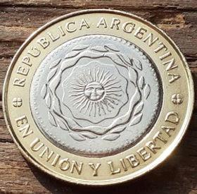 2 Песо, 2014 года, Аргентина, Монета, Монеты, 2 Pesos2014, Republica Argentina,Flora, Флора,Рослинний орнамент,Растительный орнамент, Floralornamentна монете,Сонце, Sun, Солнце на монете.