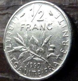 1/2 Франка, 1969года, Франция,Монета, Монеты, 1/2Franc 1969,RepubliqueFrancaise, France,Гілка оливкового дерева, Olive, Ветвь оливковогодеревана монете,Girl,Девушкана монете.