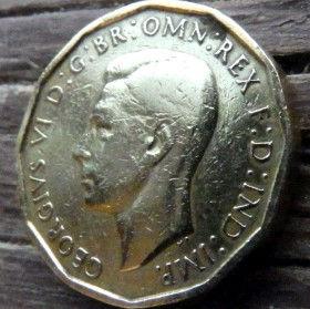 3 Пенса, 1941 года,Великобритания, Монета, Монеты, Three Pence 1941, Flora,Флора, Квіти,Flowers,Цветы на монете, КорольGeorgivs VI,Георг VI на монете, 12-угольная монета.