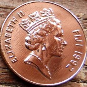 2 Цента, 1992 года,Фиджи, Монета, Монеты, 2Cents1992, Fiji,Palm fan,Пальмовое опахало на монете, Королева Elizabeth II, Елизавета IIна монете, Третий портрет королевы.